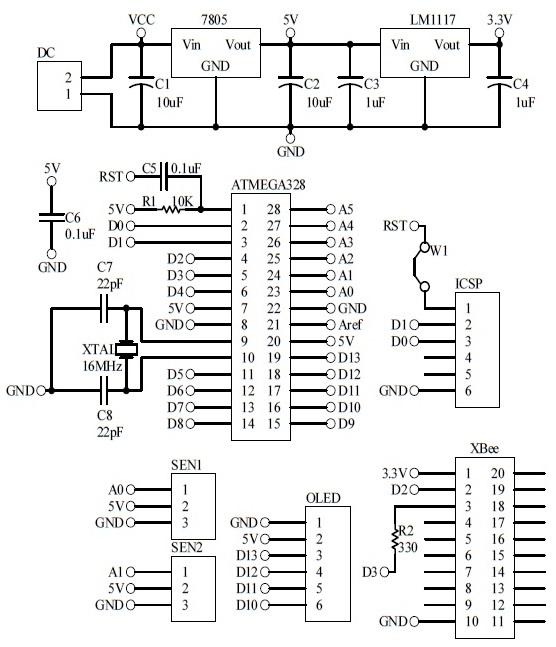 Schematic Arduino Automatic Fan Remote