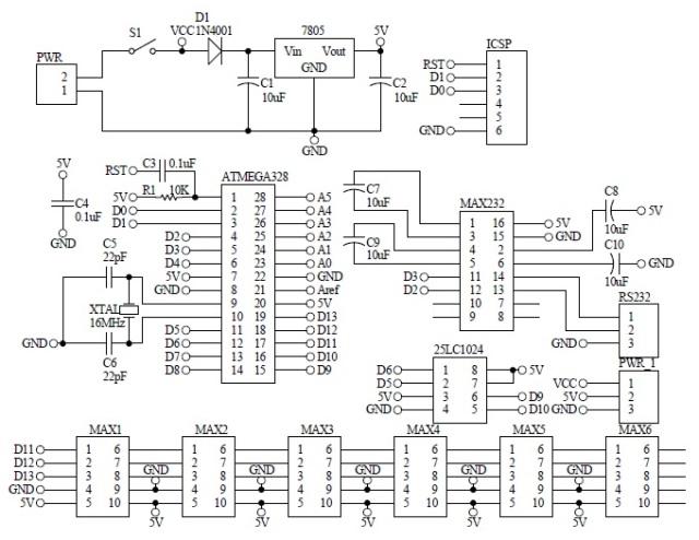 Schematic Arduino Barcode Signboard 48x8