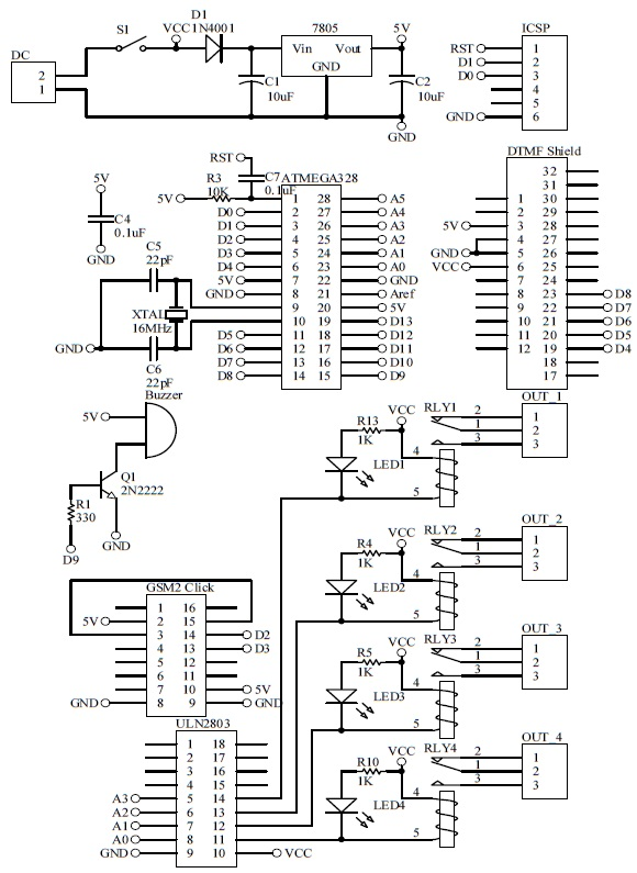 Schematic Arduino DTMF Switch