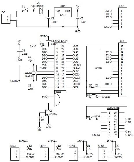 Schematic Arduino GSM Mailbox