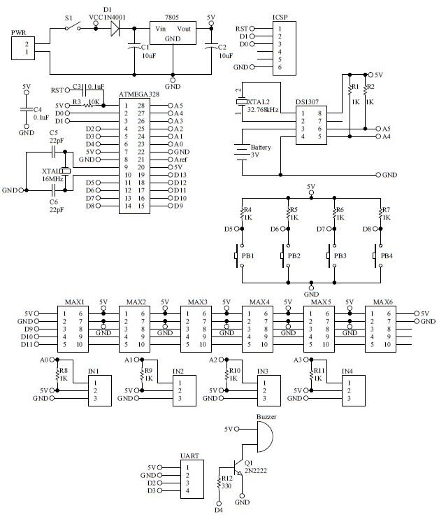 Schematic Arduino GSM Signboard 48x8