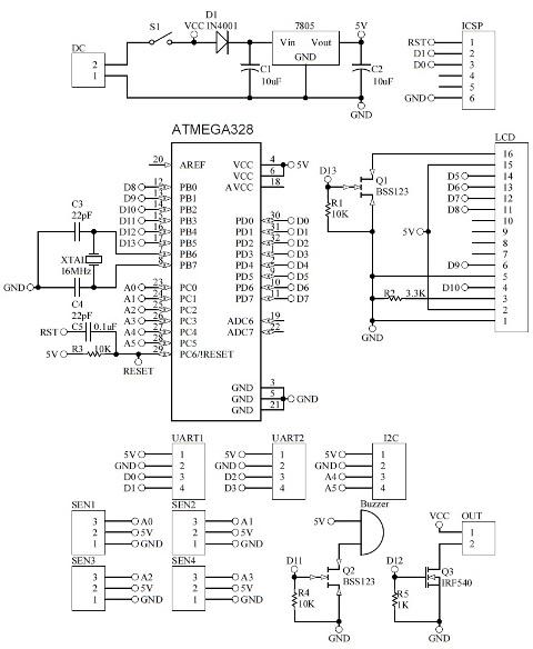 Schematic Arduino GSM Temperature