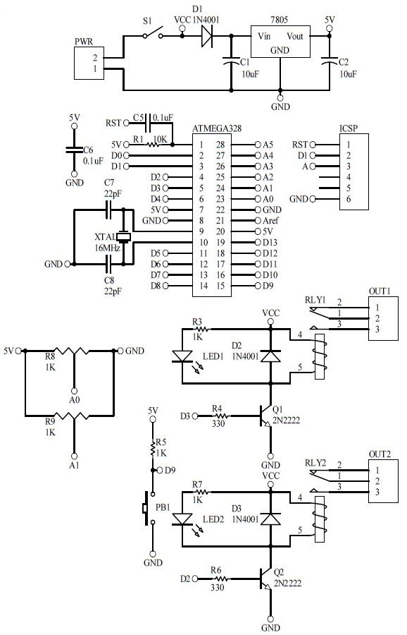 Schematic Arduino Relay Timer