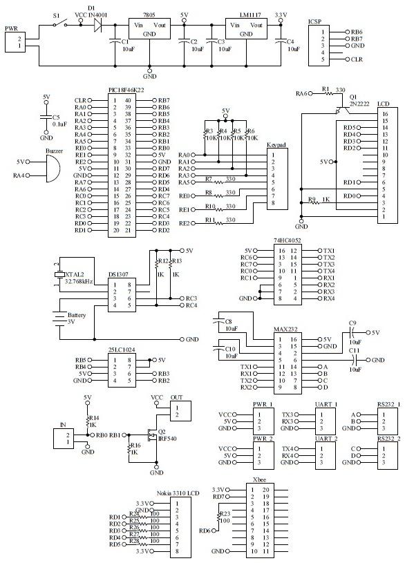 Schematic Barcode Fingerprint Attendance System