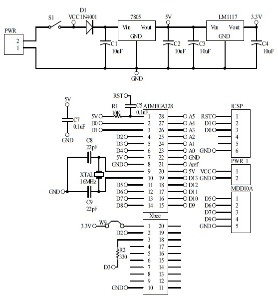 Schematic Bluetooth Mobile Robot