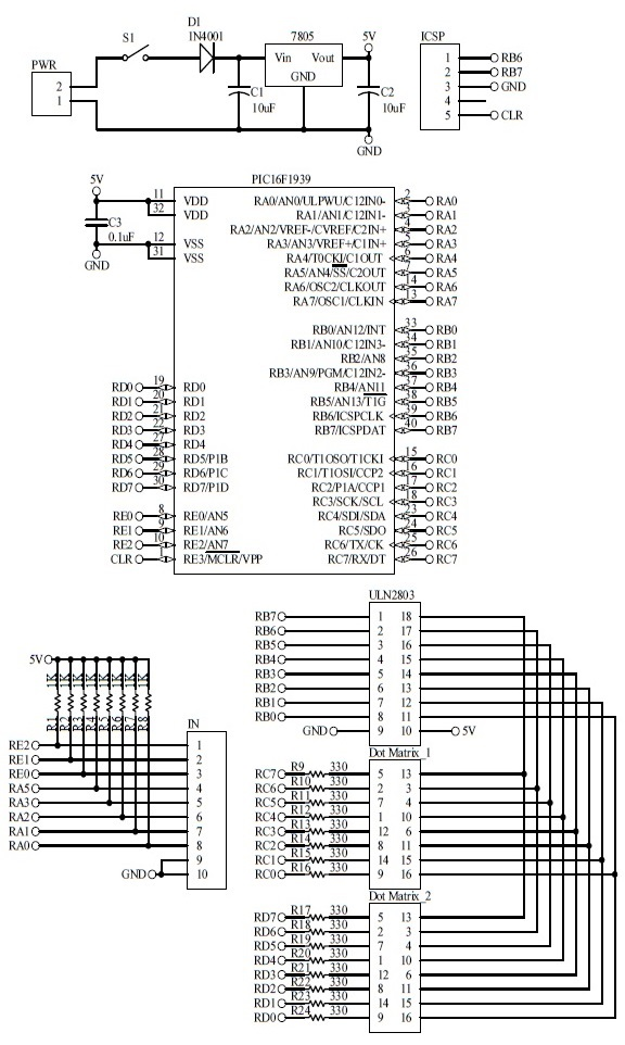 Schematic Dot Matrix Lift Display