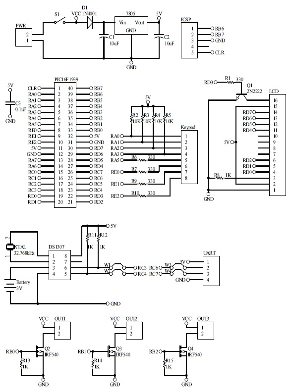 Schematic Fingerprint Security Lock Keypad