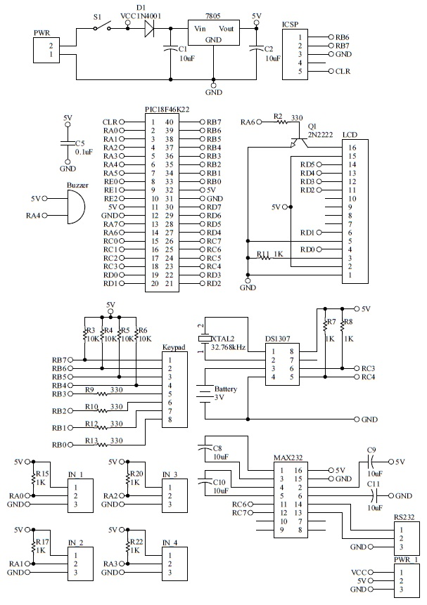 Schematic PIC GSM Mailbox